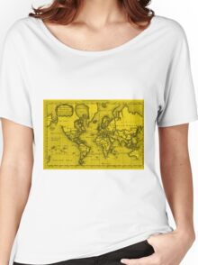 World Map (1766) Yellow & Black Women's Relaxed Fit T-Shirt