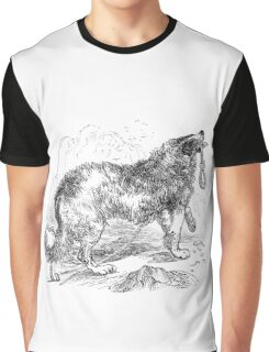 Vintage Border Collie Dog Illustration Retro 1800s Black and White Image Graphic T-Shirt