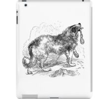 Vintage Border Collie Dog Illustration Retro 1800s Black and White Image iPad Case/Skin