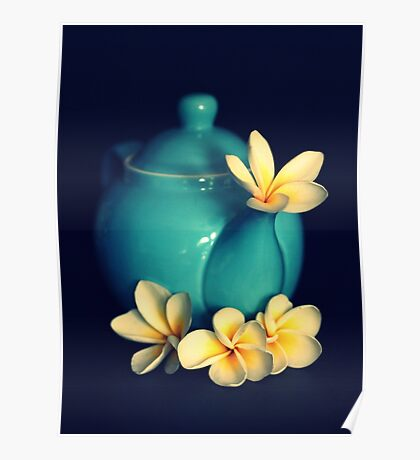 Blue Teapot And Frangipanis Poster