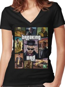 Breaking Bad / Grand Theft Auto Crossover (Clear Frame) Women's Fitted V-Neck T-Shirt