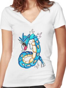 Gyarados watercolor Women's Fitted V-Neck T-Shirt