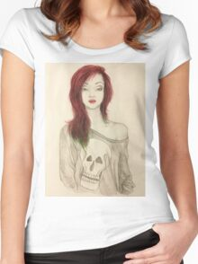Grunge Girl Sketch Women's Fitted Scoop T-Shirt