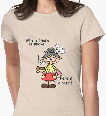 Humorous Burn Dinner Womens Fitted T-Shirt