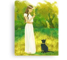 Black cat and a little bird Canvas Print