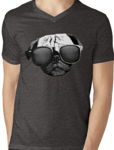 Caesar the Pug in Rayban Sunglasses by AiReal Apparel Mens V-Neck T-Shirt