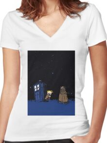Tardis Doctor Who - Dalek Women's Fitted V-Neck T-Shirt