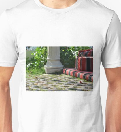 Ferric garden with columns and bed.  Unisex T-Shirt