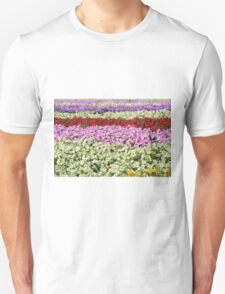 Beautiful colorful stripes of flowers. T-Shirt