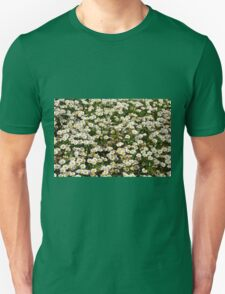 Small white flowers meadow. Unisex T-Shirt