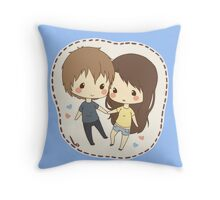 cute chibi couple  Throw Pillow