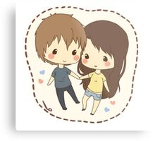 cute chibi couple  Metal Print