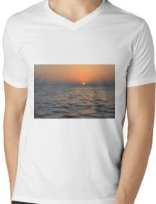 The sunset at the sea. Mens V-Neck T-Shirt
