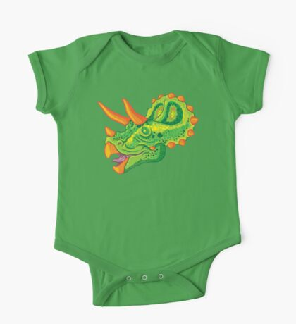 Triceratops (lime) One Piece - Short Sleeve