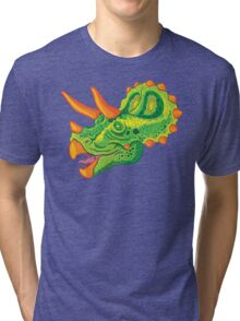 Triceratops (lime) Tri-blend T-Shirt