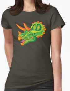 Triceratops (lime) Womens Fitted T-Shirt