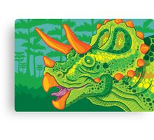 Triceratops (lime) Canvas Print