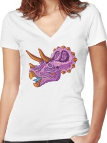 Triceratops (grape) Women's Fitted V-Neck T-Shirt