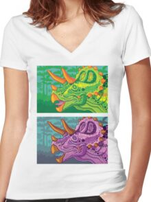 Triceratops (lime + grape) Women's Fitted V-Neck T-Shirt