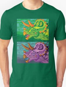 Triceratops (lime + grape) Unisex T-Shirt