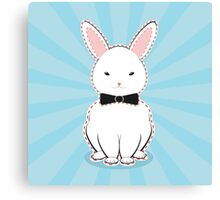 White Bunny with Bow Canvas Print