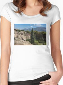 A Fine Italian Afternoon - Ancient Pompeii Ruins From a Verdant Park Women's Fitted Scoop T-Shirt