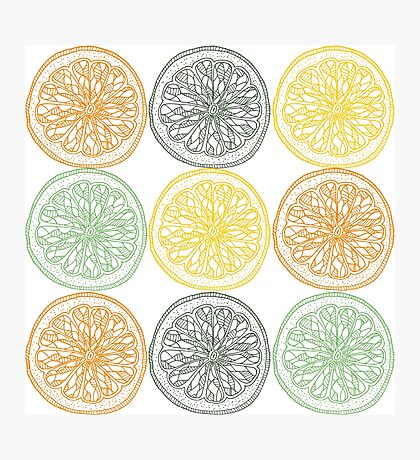 Colored fruit slices pattern Photographic Print