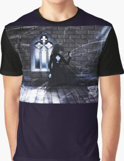 Haunted Interior and Ghost Graphic T-Shirt