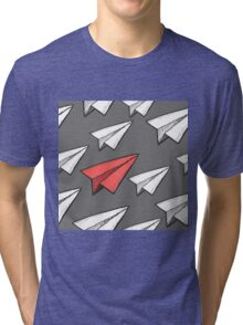 Flying paper planes pattern Tri-blend T-Shirt