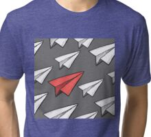 Flying paper planes pattern Tri-blend T-Shirt