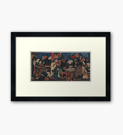 Kuniyoshi Utagawa - Dr Huatuo Attending to Warrior Guanyu - 1853 - Woodcut Framed Print