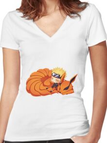 narutoandninetail Women's Fitted V-Neck T-Shirt