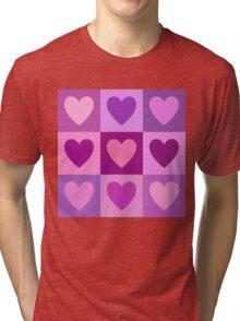 Hearts 3x3 Pinks Purples Mauves Tri-blend T-Shirt