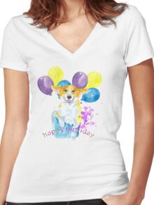 Dog and balloons Women's Fitted V-Neck T-Shirt
