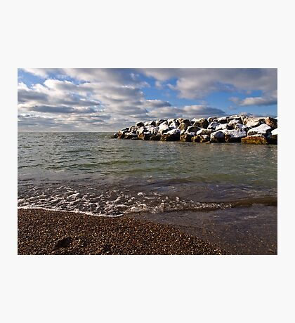 Snow on the Breakwater - Erie, PA Photographic Print