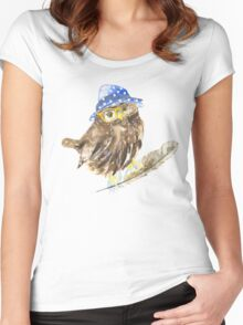 Owl hipster.  Women's Fitted Scoop T-Shirt