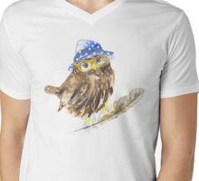 Owl hipster.  Mens V-Neck T-Shirt