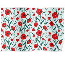 Seamless Flower  Poppies and Roses  Pattern Poster