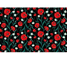 Seamless Dark Flower Poppies and Roses Pattern Photographic Print