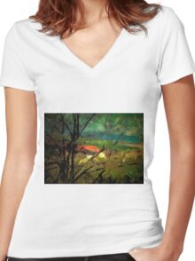 A digital painting of The View Over the Village of Barda, Romania Women's Fitted V-Neck T-Shirt