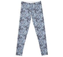 Seamless Flower Poppies and Roses Pattern Leggings