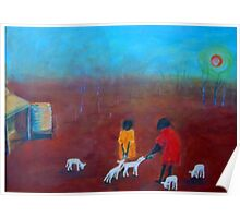 """Feeding the Lambs"" outback Australia Poster"