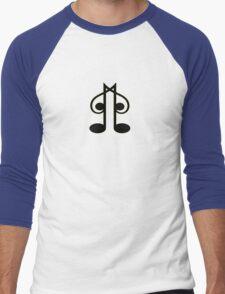Black Music Note Men's Baseball ¾ T-Shirt