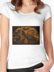 World Map (1775) Orange & Black Women's Fitted Scoop T-Shirt