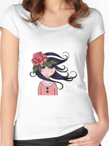 Big-Eyed Girl with ROSE, Whimsical Art, Surreal Art Women's Fitted Scoop T-Shirt