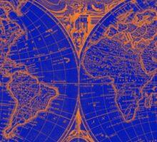 World Map (1775) Blue & Orange Sticker