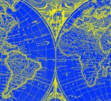 World Map (1775) Blue & Yellow Sticker