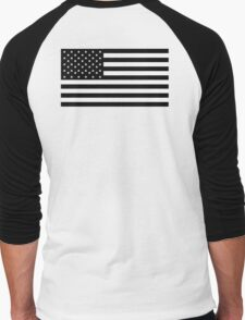 American Flag, STARS & STRIPES, USA, America, Black on white Men's Baseball ¾ T-Shirt