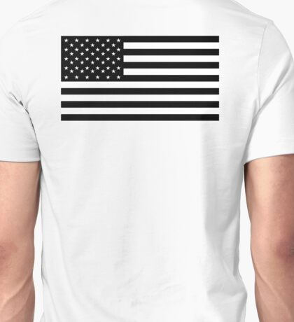 American Flag, STARS & STRIPES, USA, America, Black on white Unisex T-Shirt