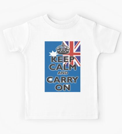 AUSTRALIA, AUSTRALIAN FLAG, KEEP CALM & CARRY ON, Australia, Aussie Kids Tee